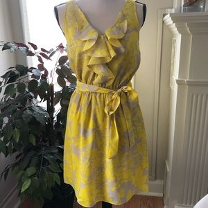 Express grey and yellow floral belt